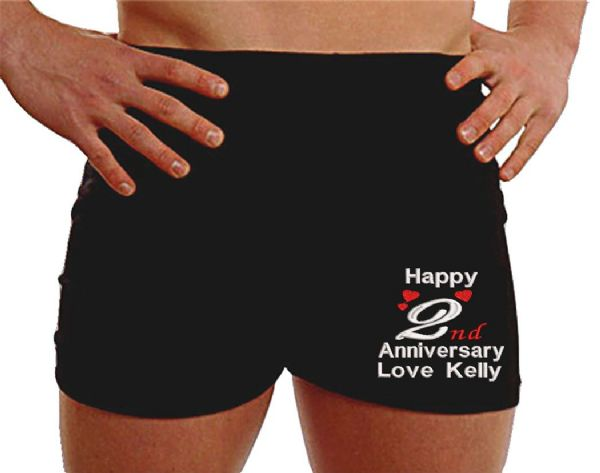Personalised 2nd wedding anniversary boxer shorts on the LEG gifts for husband custom uk